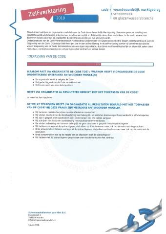 Zelfverklaring Code Verantwoordelijk Marktgedrag